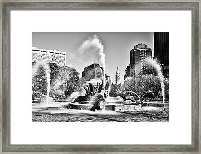 Philadelphia - Logan Circle Fountain In Black And White Framed Print by Bill Cannon