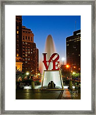Philadelphia Love Park Framed Print by Nick Zelinsky