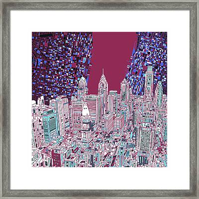 Philadelphia Map Panorama 2 Framed Print by Bekim Art