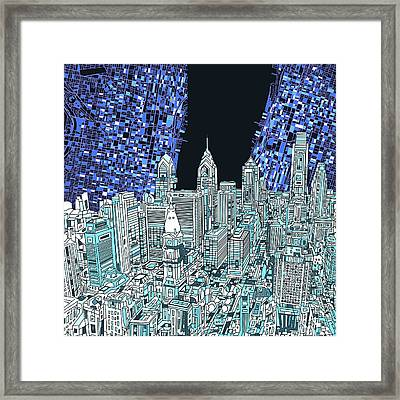 Philadelphia Map Panorama Framed Print by Bekim Art