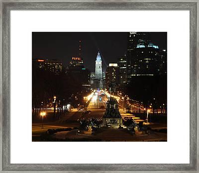 Philadelphia Nighttime Framed Print by Bill Cannon
