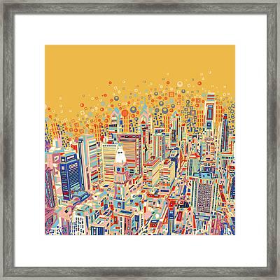 Philadelphia Panorama Pop Art Framed Print