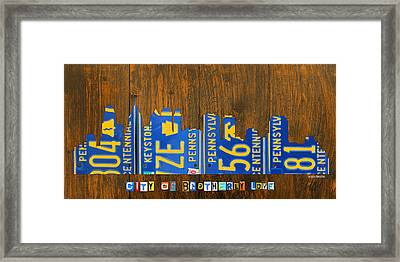 Philadelphia Pennsylvania City Of Brotherly Love Skyline License Plate Art Framed Print by Design Turnpike
