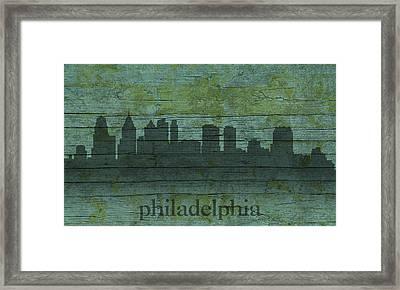Philadelphia Pennsylvania Skyline Art On Distressed Wood Boards Framed Print