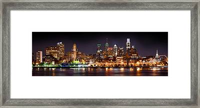 Philadelphia Philly Skyline At Night From East Color Framed Print by Jon Holiday