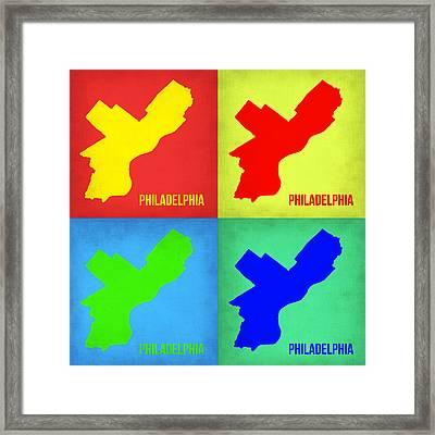 Philadelphia Pop Art Map 1 Framed Print