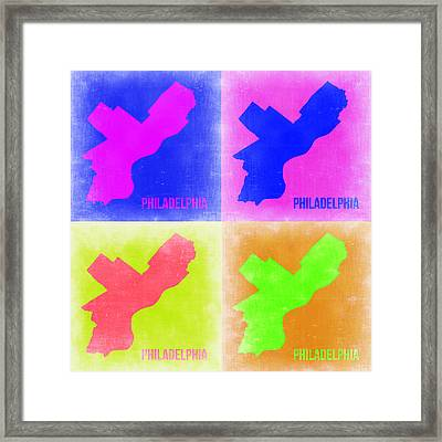 Philadelphia Pop Art Map 2 Framed Print