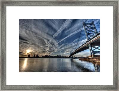 Philadelphia Skyline - Camden View Of Ben Franklin Bridge Framed Print