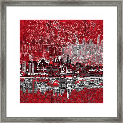 Philadelphia Skyline Abstract 4 Framed Print