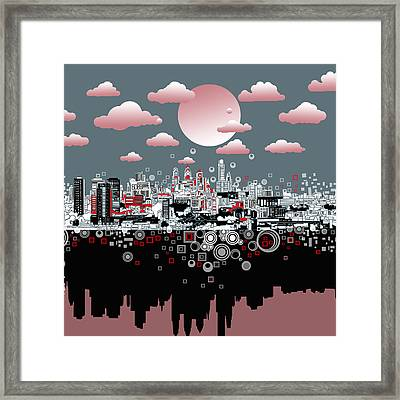 Philadelphia Skyline Abstract 6 Framed Print