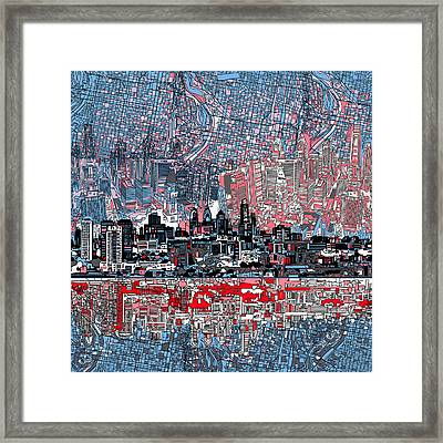 Philadelphia Skyline Abstract Framed Print