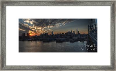 Philadelphia Skyline And The Ben Franklin Bridge Sunset Framed Print by Mark Ayzenberg