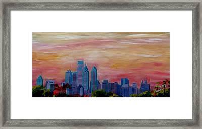 Philadelphia Skyline At Dusk Framed Print by M Bleichner