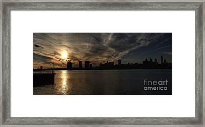 Philadelphia Skyline Birds In Flight Framed Print