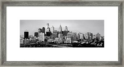 Philadelphia Skyline Black And White Bw Pano Framed Print