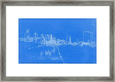 Philadelphia Skyline Blueprint Framed Print