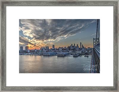 Philadelphia Skyline From The Ben Franklin Bridge Framed Print by Mark Ayzenberg