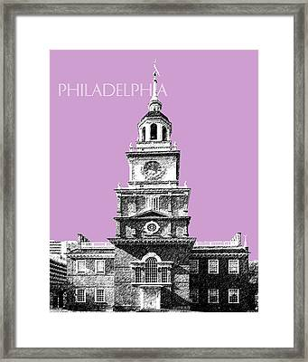 Philadelphia Skyline Independence Hall - Light Plum Framed Print by DB Artist