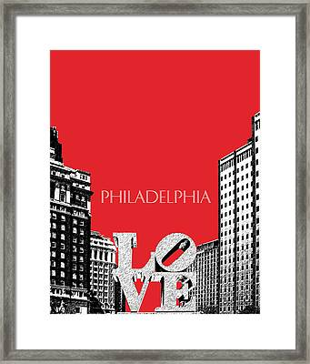 Philadelphia Skyline Love Park - Red Framed Print by DB Artist