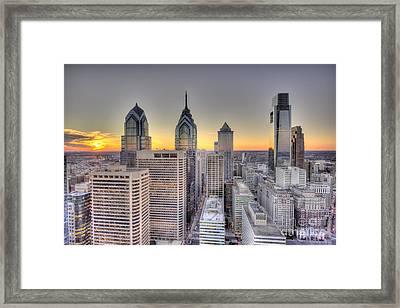 Philadelphia Sunset Skyline Framed Print