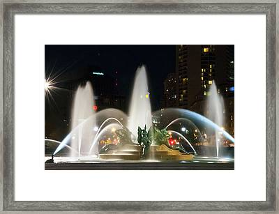 Philadelphia - Swann Fountain - Night Framed Print by Bill Cannon