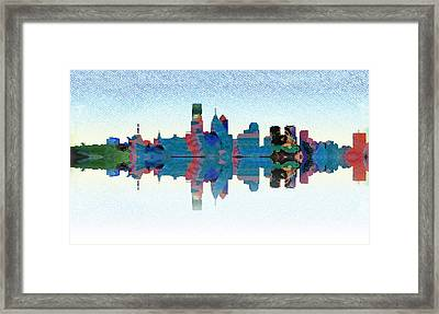 Philadelphia Water Color Cityscape Framed Print by Bill Cannon