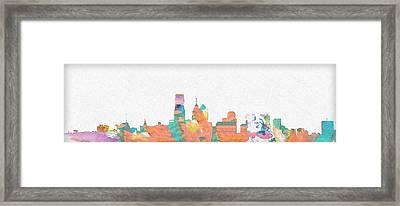 Philadelphia Watercolor Cityscape Framed Print by Bill Cannon