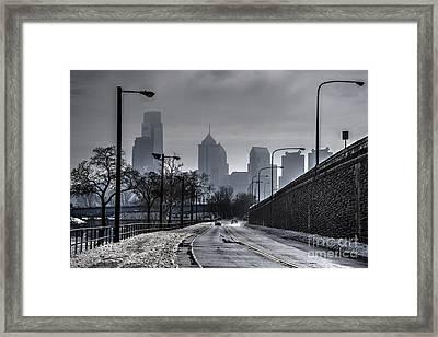 Philadelphia Winter Skyline Framed Print by Mark Ayzenberg