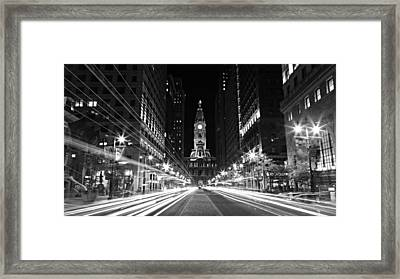 Philadephia City Hall -- Black And White Framed Print