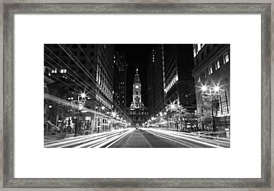 Philadephia City Hall -- Black And White Framed Print by Stephen Stookey