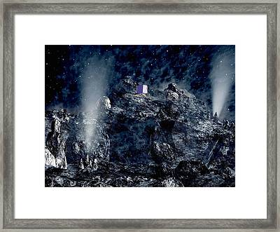 Philae Lander Descending Onto Comet Framed Print by European Space Agency,medialab