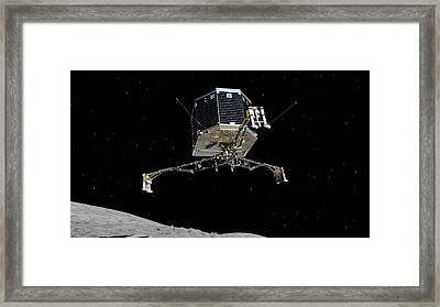 Philae Lander Descending To Comet 67pc-g Framed Print by Science Source