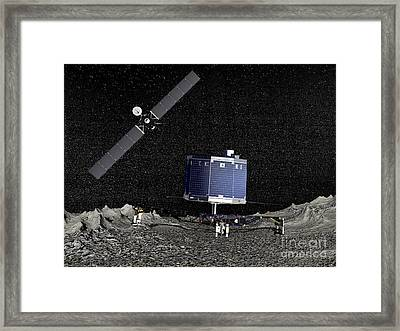 Philae Lander On Surface Of A Comet Framed Print