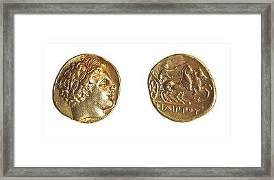 Philip II Gold Coin Framed Print by Science Photo Library