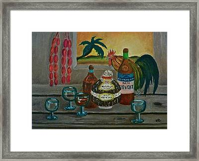 Philippine Still Life With Basi And Rooster Framed Print