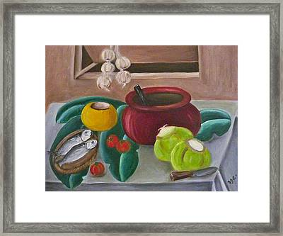 Philippine Still Life With Fish And Coconuts 2 Framed Print