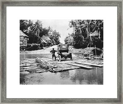 Philippines Bamboo Ferry Framed Print by Underwood Archives