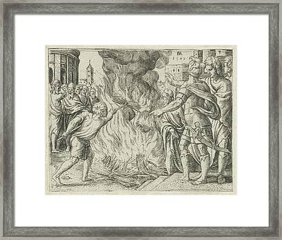 Philistines Burned Samsons Wife And Father Framed Print by Cornelis Massijs