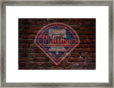 Phillies Baseball Graffiti On Brick  Framed Print by Movie Poster Prints