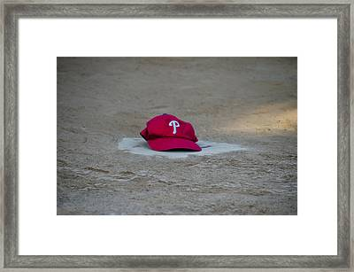 Phillies Hat On Home Plate Framed Print by Bill Cannon