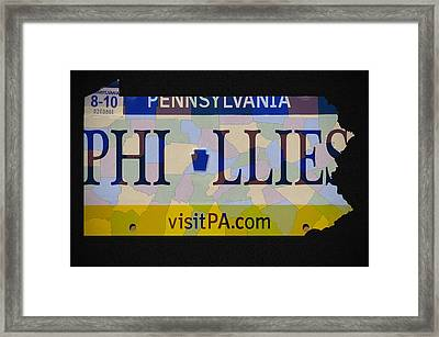 Phillies License Plate Map Framed Print by Bill Cannon