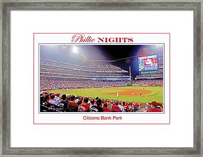 Phillies Night Baseball Poster Image Framed Print by A Gurmankin