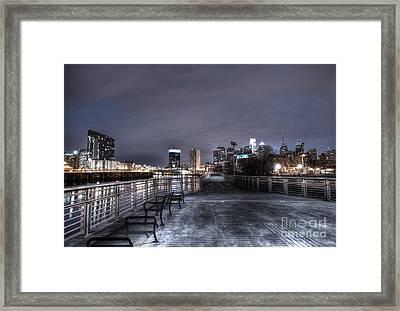 Philly Skyline Along The Riverwalk Framed Print by Mark Ayzenberg