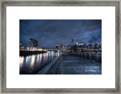 Philly Skyline Riverwalk At Dawn Framed Print by Mark Ayzenberg