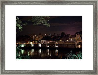 Philly Waterworks At Night Framed Print by Bill Cannon