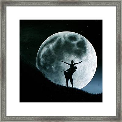 Framed Print featuring the painting Philos Under A Full Moon Rising by Ric Nagualero