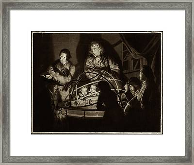 Philosopher Giving Lecture On The Orrery Framed Print by Museum Of The History Of Science/oxford University Images