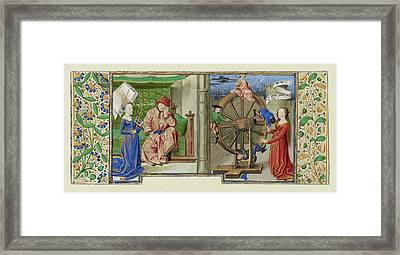 Philosophy Consoling Boethius And Fortune Turning The Wheel Framed Print by Litz Collection