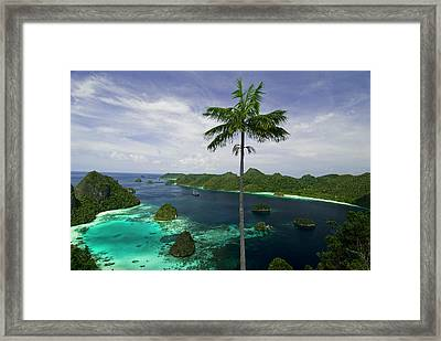 Phinisi Schooner Anchored In Scenic Framed Print by Jaynes Gallery