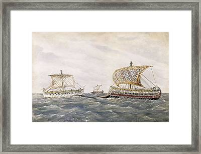 Phoenician And Assyrian Battle Ships Framed Print by Everett